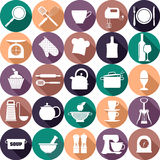 Kitchen icons set of tools. Color vector backround vector illustration