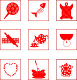 Kitchen icons set. Vector kitchen red icons set Stock Images