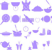 Kitchen icons set. Vector kitchen red icons set Royalty Free Stock Image