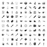 Kitchen 100 icons set for web. Flat stock illustration