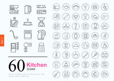 60 kitchen icons. Set of kitchen icons for web or services. 60 design line icons high quality, vector illustration Stock Illustration