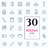 30 kitchen icons. Set of kitchen icons for web or services. 30 design line icons high quality, vector illustration Royalty Free Stock Photography