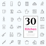 30 kitchen icons. Set of kitchen icons for web or services. 30 design line icons high quality, vector illustration Stock Photo