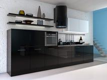 Kitchen interior. Modern kitchen interior. Made in 3d Royalty Free Stock Image