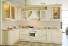 Kitchen interior. Modern delux classic kitchen interior  in white Royalty Free Stock Image