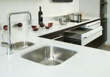 Kitchen interior. Modern delux kitchen interior black and white Royalty Free Stock Images