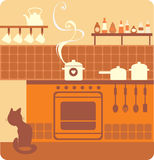 Kitchen interior. And utensils illustration Stock Photography