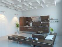 Kitchen interior. The modern kitchen interior design (3D rendering Stock Photo