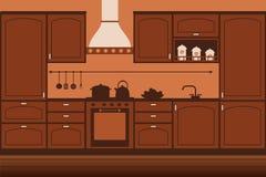 Kitchen interior. Classic brown kitchen interior Royalty Free Stock Photos