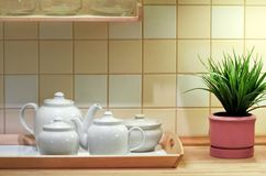 Kitchen interior. Part of the kitchen interior with tiled wall stock image