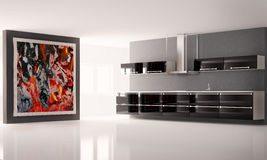 Kitchen interior 3d. Modern kitchen with big picture on the wall interior Royalty Free Stock Image