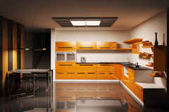 Kitchen interior 3d. Modern kitchen interior 3d render Stock Image