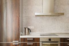 Kitchen interior. With kettle and refrigerator Royalty Free Stock Photos