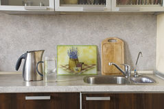 Kitchen interior. With sink and kettle Royalty Free Stock Image