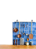 Kitchen interior, accessories. Hanging copper Royalty Free Stock Photography