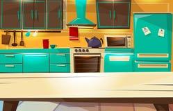 Kitchen interior background vector cartoon illustration of modern or retro kitchen furniture and appliances. Kitchen interior background vector illustration from vector illustration