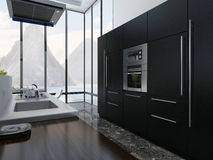 Kitchen interior with black appliances Stock Image