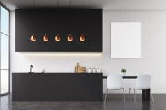 Kitchen interior: black wall, poster Stock Photos