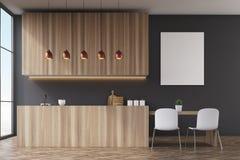 Kitchen interior: black walls, poster, front view Royalty Free Stock Photos