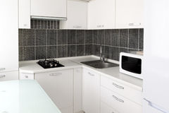 Kitchen interior in black and white colors Stock Photo