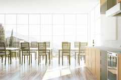 Kitchen interior with blank whiteboard. And window with city view. 3D Rendering Stock Photo