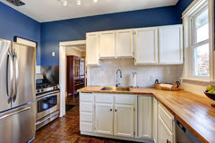 Kitchen interior in bright navy and white colors. Kitchen interior with white cabinets and bright navy walls Stock Photos