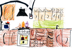 Kitchen interior. children drawing. Stock Photo