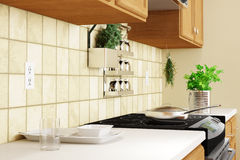 Kitchen interior closeup with herbs Royalty Free Stock Photo