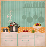 Kitchen interior collage.Retro card on old paper Stock Photo