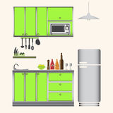 Kitchen interior concept, kitchen set illustration Stock Image