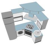 Kitchen interior cutaway illustration modern style Royalty Free Stock Photos