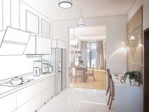 Kitchen interior. 3d illustration, render. Royalty Free Stock Photo