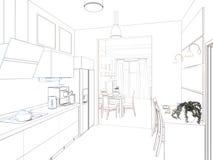 Kitchen interior. 3d illustration, render. Stock Images