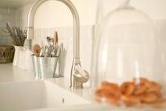 Kitchen interior design. Kitchen white interior with cookies royalty free stock photos