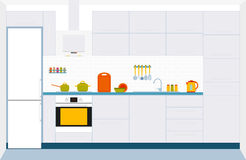 Kitchen interior design. Front view. Vector illustration Royalty Free Stock Photos