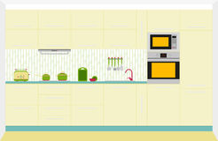 Kitchen interior design. Front view. Vector illustration Stock Images