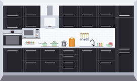 Kitchen interior design. Front view. Vector illustration Stock Image