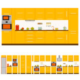 Kitchen interior design set. Front view. Vector illustration. Royalty Free Stock Images
