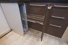 Kitchen interior design sliding cupboard detail royalty free stock image