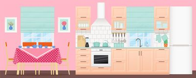 Kitchen interior with dining area. Vector illustration. Flat design.