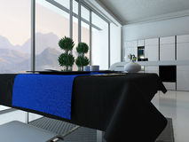 Kitchen interior with dining table and tablecloth Stock Photography
