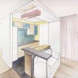Kitchen interior drawing Stock Photo