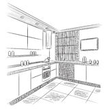 Kitchen interior drawing Stock Photo