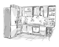 Kitchen interior drawing, vector illustration Royalty Free Stock Images