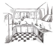 Kitchen interior drawing, vector illustration Stock Photos