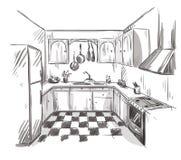 Kitchen interior drawing, vector illustration Stock Photos