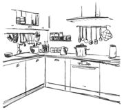 Kitchen interior drawing, vector illustration. Furniture sketch Stock Photos