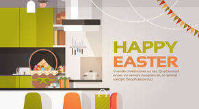 Kitchen Interior Easter Basket Decorated Colorful Eggs Holiday Symbols Greeting Card Stock Image