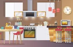 Kitchen Interior Flat Stock Photo