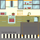 Kitchen interior flat design with furniture and kithenware. Front view. Vector illustration. Cosy home theme. Stock Photo
